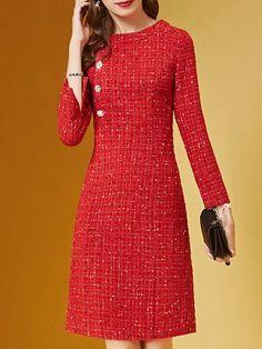 Elegant Midi Dresses, Elegant Dresses For Women, Casual Dresses, Fashion Dresses, Vintage Formal Dresses, Formal Gowns, Fall Dresses, Red Midi Dress, The Dress