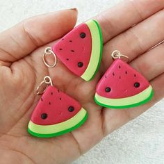 Watermelon Charm Melon Polymer Clay Pendant Food Miniature