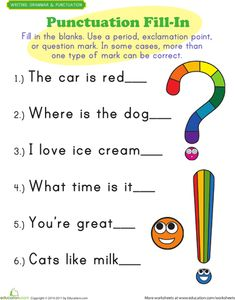 First Grade Reading & Writing Worksheets: Punctuation Mark Exercises Easy Grammar, Teaching English Grammar, Grammar Games, English Phonics, Punctuation Activities, Writing Activities, Teaching Punctuation, English Worksheets For Kids, 1st Grade Worksheets