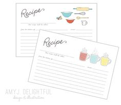 Blank RECIPE CARD TEMPLATE for personal and commercial use by amyjdelightful
