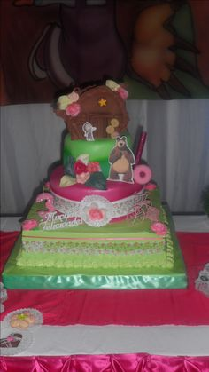 Masha y el oso torta falsa, bolo-