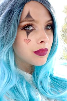 Halloween Costume idea - Glam Clown Makeup - easy halloween makeup for women. Blue wig, clown makeup!