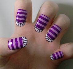 Alice in Wonderland-chesire-cat Fancy Nails, Love Nails, How To Do Nails, Sexy Nails, Gorgeous Nails, Pretty Nails, Chesire Cat, For Elise, Cat Nails