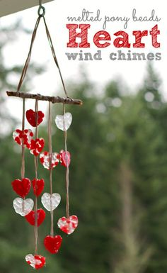 Melted Pony Bead Heart Wind Chimes|DIY Valentines Day Crafts for Kids,see more at: http://diyready.com/diy-valentines-day-crafts-for-kids/
