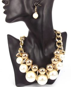 White & Gold Chunky Pearl Necklace on Etsy, $22.00