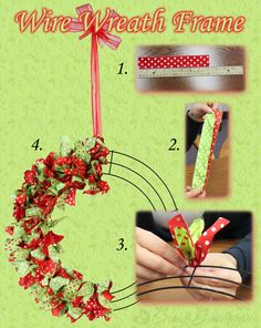 A quick how-to for decorating a wire wreath frame. Christmas Crafts For Gifts, Craft Gifts, Christmas Time, Christmas Wreaths, Christmas Decorations, Christmas 2017, Christmas Ideas, Holiday Decor, Diy Projects To Try
