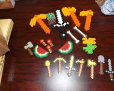 Minecraft perler bead toys, tools, weapons, food. Great starter set or birthday present. PERFECT for easter baskets!