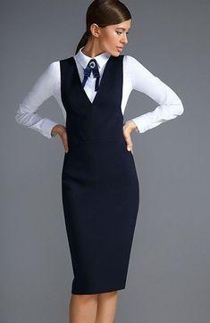 Сарафаны. 23 модных образов. – В РИТМІ ЖИТТЯ Office Fashion, Business Fashion, Work Fashion, Fashion Wear, Modest Fashion, Fashion Dresses, Office Dresses, Dresses For Work, Pinafore Dress