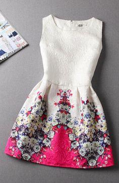 Slim Vintage Jacquard Printed Sleeveless Dress