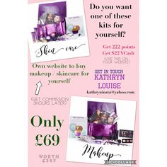 🎉🎉 SECRET REVEALED 🎉🎉  Do you want a huge bag of makeup or skin care?   Do you want to buy your own products with your very own website and still get paid commission 3 hours after...?  💜 You don't have to run a business!  💜 You don't have to sell products to other people if you don't want too!  You only have to pay £69 and THATS IT!   (BTW, THE KITS ARE WORTH £347, YOU WOULD BE SAVING £278)  👉🏼👉🏼👉🏼 Would you do it? 👈🏼👈🏼👈🏼