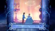 Closely resembling the Blu-ray, the new Cinderella DVD's menu plays clips of the film between two ivy-wrapped pillars.