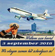 De affiche voor de start van schooljaar 2018 - 2019 Jet, Aircraft, Vans, Vehicles, Event Posters, Aviation, Van, Car, Planes