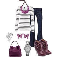 Purple and Black Stripes, created by dmac30 on Polyvore