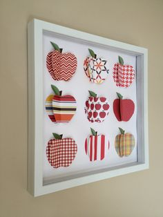 Red Apple 3D Paper Art 12x12 shadow box frame by PaperLine on Etsy, $70.00