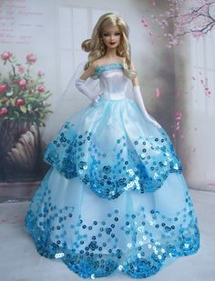 Free Shipping Blue Dress Party Clothes Outfit Gown Skirt for Barbie Doll-in Dolls Accessories from Toys & Hobbies on Aliexpress.com