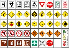 road number line for kids | Road signs for kids