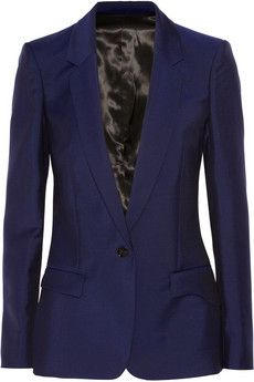 Acne Studios Wool and mohair-blend blazer | NET-A-PORTER $670 LOVE EDITORS' NOTES & DETAILS Acne Studios' blazer embodies the brand's contemporary-cool ethos. This mid-weight wool and mohair-blend design has structured shoulders and a narrow waist. Wear yours with a camisole and skinny jeans.  Navy wool and mohair-blend Button fastening at front 73% wool, 27% mohair; lining: 100% viscose Dry clean product code: 453102