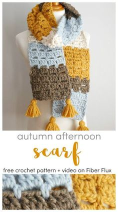 Autumn Afternoon Scarf, Free Crochet Pattern   Video on Fiber Flux