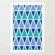 Tribal Pattern - Blue Art Print by EWELINA HOLDREGE SURFACE DESIGN - $14.56