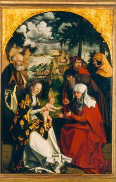 Hans Dürer: Triptych with the St Anne, Virgin & Christ, middle part, 1515, Castle Huis Bergh, Netherlands (The current official attribution is to Hans Ritter called Hans Döring, who signed wood cuts c.1540-50 with HD. This attribution is completely  unbelievable that I can not follow it.) https://www.paulabargiese.nl/German_Medieval_Paintings/Doring,_Hans.html