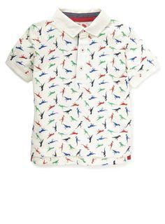 Boys All-Over Print Dinosaur Short Sleeve Polo Shirt