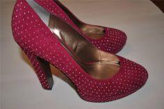 Womens BCBGeneration Raspberry Platforms 5 1/2 Heel Wedges 10 M Stud Polka Dot