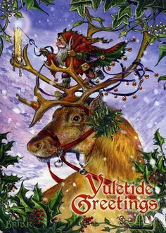 Greeting cards to celebrate the pagan festival of Yule, the Winter Solstice. Some of these cards are suitable for Christmas cards too. Christmas Pictures, Christmas Art, Winter Christmas, Winter Holidays, Vintage Christmas, Xmas, Pagan Christmas, Sweden Christmas, Christmas Doodles