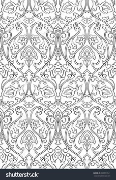 Black and white floral pattern. Stylized template for wallpaper, textile, shawl, tile, carpet and any surface. Pattern with stylized birds.