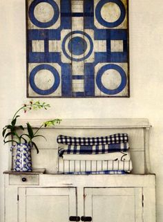 White and blue never goes out of style. SO pretty!! DIY art.
