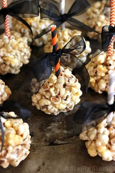 Caramel Marshmallow Popcorn Balls @ SimplyGloria.com Super soft, ooey and gooey delicious!