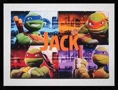 Teenage Mutant Ninja Turtles TMNT Personalised Canvas Picture Bedroom 35x23cm