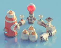 Mini Machines 02 on Behance Isometric Art, Isometric Design, 3d Design, Game Design, 3d Cinema, Low Poly Games, Affinity Photo, Low Poly Models, Low Poly 3d