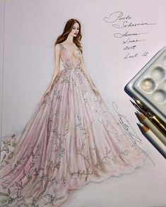 Paolo Sebastian HauteCouture A/W 2018 collection 💖 💕( ,Copic multiliners, pen and nibs, Dr. Martin's ink, Xpress It blending card) Fashion Illustration Sketches, Illustration Mode, Fashion Sketches, Drawing Sketches, Art Illustrations, Dress Drawing, Drawing Clothes, Trendy Outfits For Teens, New Outfits
