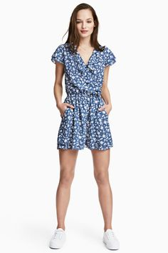 Playsuit - Blue/Floral - Ladies | H&M