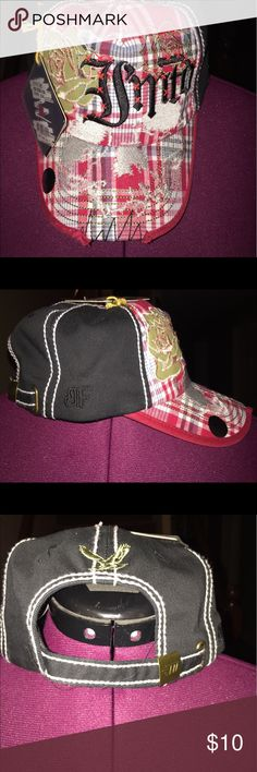 IMTD baseball cap Plaid with embroidered rose design, IMTD brand, adjustable strap back, NWT Accessories Hats