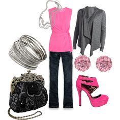 Pink and Grey, created by #trinity-foreman on #polyvore. #fashion #style Diane von Fürstenberg Hollister Co.