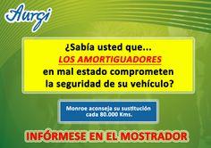 ¿Sabía que un amortiguador en mal estado puede comprometer la seguridad de su vehículo? Más información en www.aurgi.com/