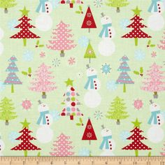 David Walker fabric material Winter Wonderland Peppermint Sticks FQ craft XMAS