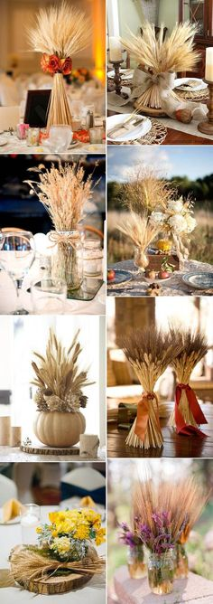 rustic wheat autumn wedding centerpieces inspiration