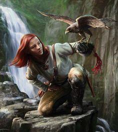 f Ranger Hawk hills river waterfall cliff RPG Female Character Portraits Fantasy Portraits, Character Portraits, Fantasy Artwork, Character Art, Character Concept, Fantasy Warrior, Fantasy Rpg, Medieval Fantasy, Fantasy Heroes