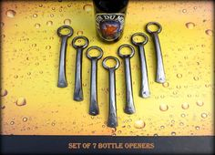 Excited to share this item from my shop: 7 GROOMSMEN GIFTS Bottle Openers - Personalized Option Available - Hand Forged by Naz - Gifts for Groomsmen Ushers Engagement Gift Men Personalized Bottle Opener, Engagement Gifts, Letters And Numbers, Groomsman Gifts, Makers Mark, Black Velvet, Groomsmen, Special Day, Things To Come