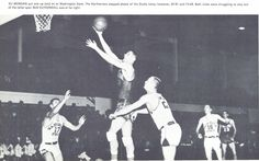 Oregon basketball player Eli Morgan attempts a shot vs. Washington State at McArthur Court in 1957. From the 1957 Oregana (University of Oregon yearbook). www.CampusAttic.com