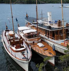 Three classic Swedish yachts, Tournesol 1912,  Vitesse 1919, and Grand Old Lady, Arona from 1904.