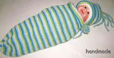 cocoon baby, ručně háčkovaný kokon pro miminko s čepicí, spací vak, pytel, fusak; knitting baby sleeping bag, hood