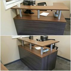 Logiflex reception desk two tone color Furniture Layout, Office Desk, Corner Desk, Reception, Color, Design, Home Decor, Corner Table, Desk Office