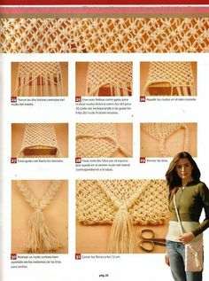 DIY Macrame bag, start from the bottom and end then inside like this