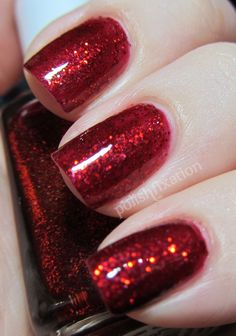 Essie Red Ruby Slippers, my Christmas nails this year Cute Nails, Pretty Nails, Hair And Nails, My Nails, Ruby Slippers, Nail Envy, Christmas Nails, Holiday Nails, Red Christmas