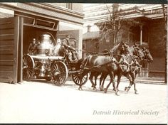 Detroit Engine Company No. 9 exiting a fire station with a horse-drawn Amoskeag steam engine. Engine Company was located at the northwest corner of East Larned and Riopelle Streets. Steam Engine, Fire Engine, Fire Dept, Fire Department, Old Photos, Vintage Photos, Fire Horse, Chariots Of Fire, Detroit History