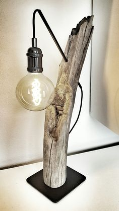 This type of photo is an extremely inspiring and top-notch idea -. This type of photo is an extremely inspiring and top-notch idea - Wooden Lamp, Wooden Diy, Driftwood Lamp, Bedroom Lamps, Floor Lamp, Light Fixtures, Inspiration, Type, Spice