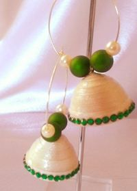 White with green jhumka with hoop
